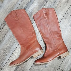 Frye & co tall cognac riding pull on boots